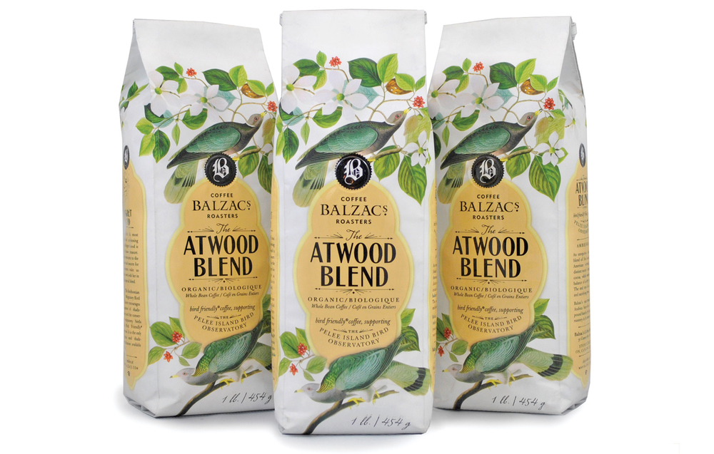 The packaging for Balzac's Atwood blend coffee uses a variety of typefaces at differing weights that work together to create strong typography for an overall awesome package design.