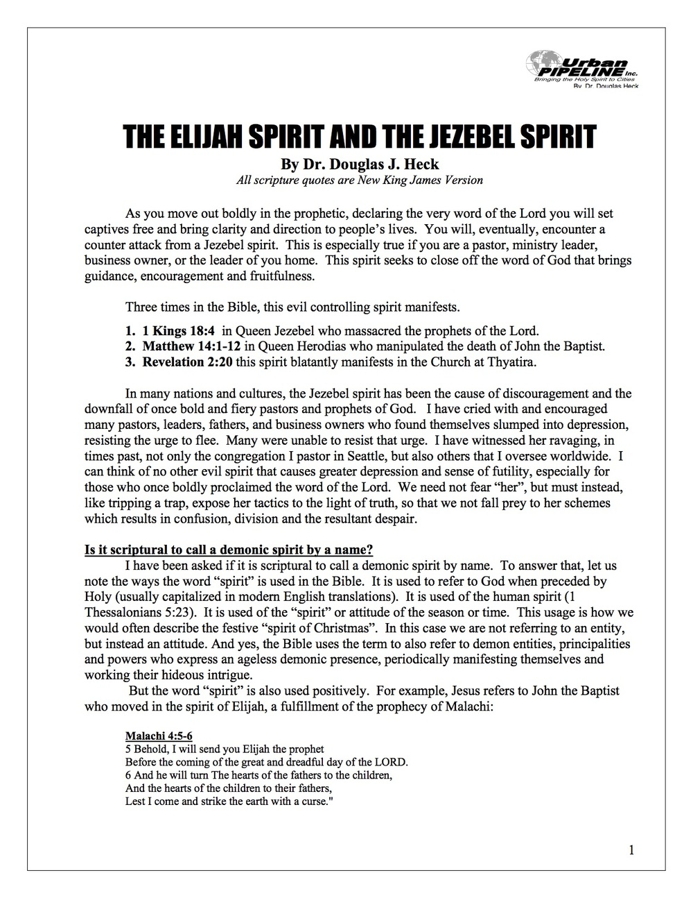The Elijah Spirit and the Jezebel Spirit
