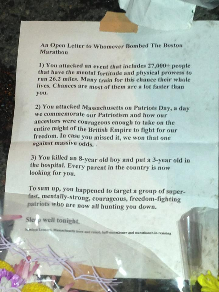 "An ""Open Letter"" posted by the barriers to Boylston Street on April 17, 2013."