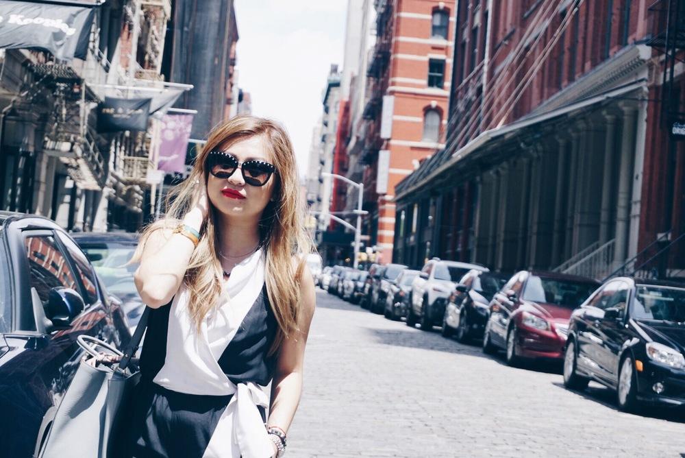Romper: Intermix | Sunglasses: Valentino | Shoes: Sam Edelman | Lipstick: Anastasia Beverly Hills