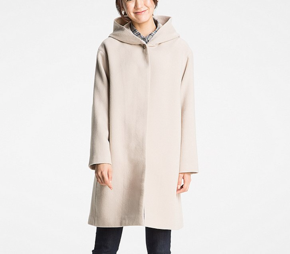 uniqlo WOMEN SOFT WOOL BLEND HOODED COAT