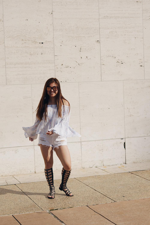 Top:  Hollister Co. | Shorts:  Rag & Bone  | Sandals:  Stuart Weitzman  | Sunglasses:  Quay