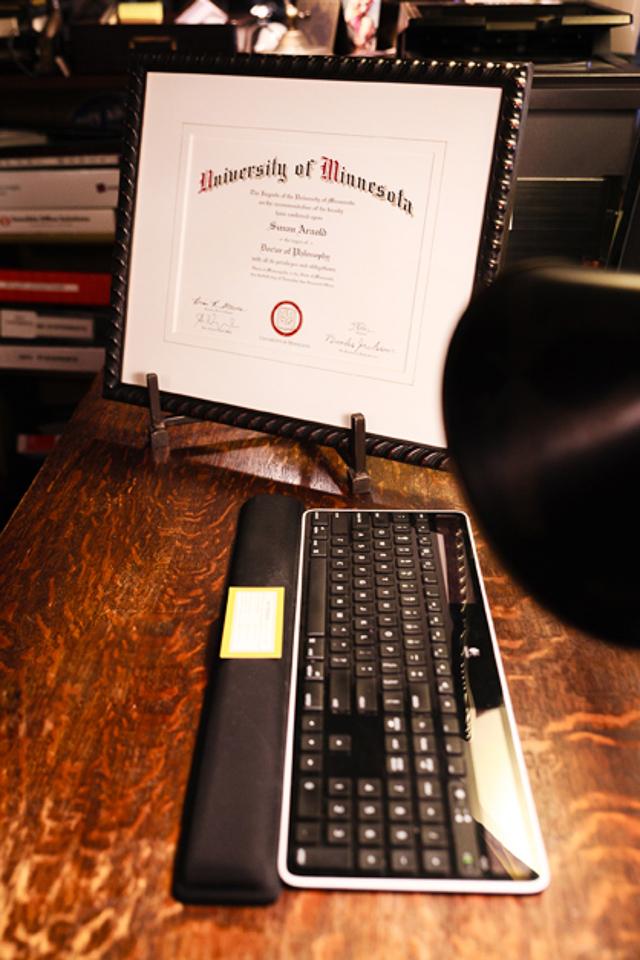 Framed diploma.