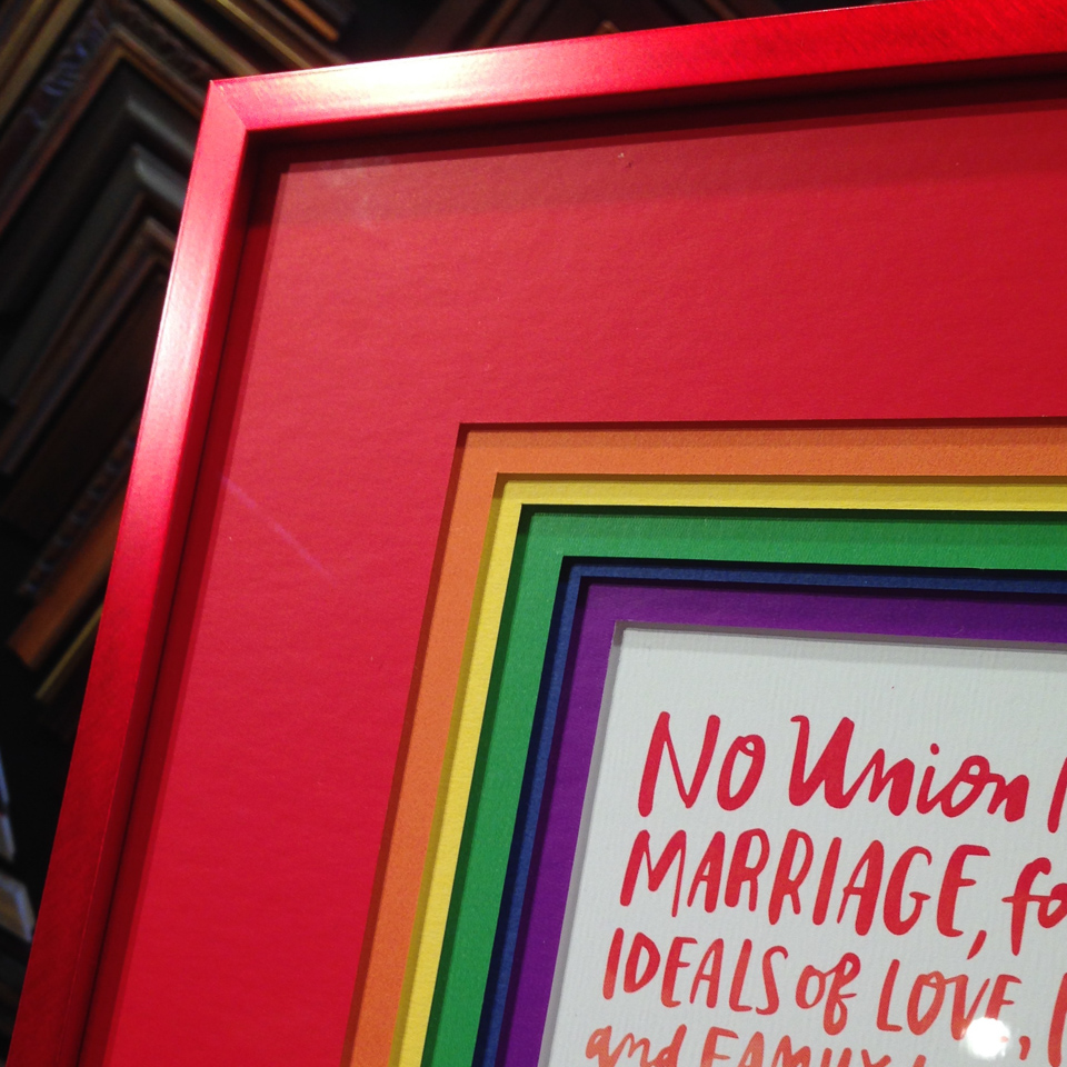 Really Rainbow matting!  on a print of the Federal Marriage Amendment.
