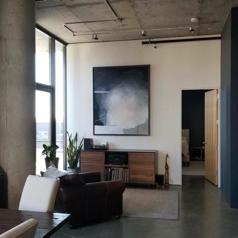 Modern abstract framed in welded steel.