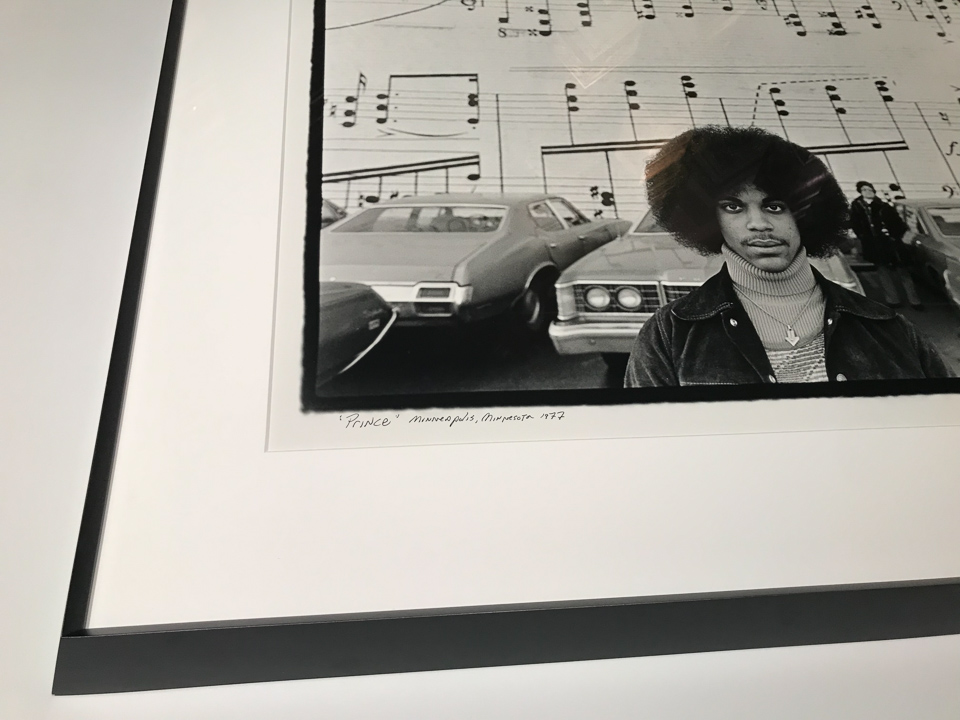Photograph of Prince (1977) by Robert Whitman framed in wedged black on maple.
