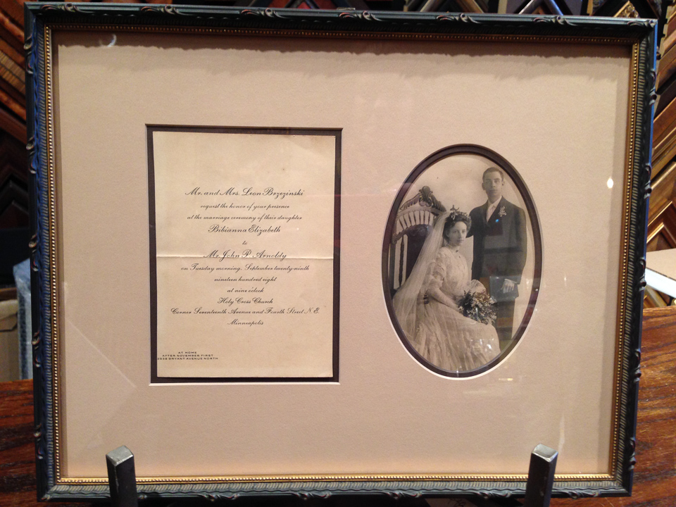 Grandparents wedding memories framed in dark ornate frame.