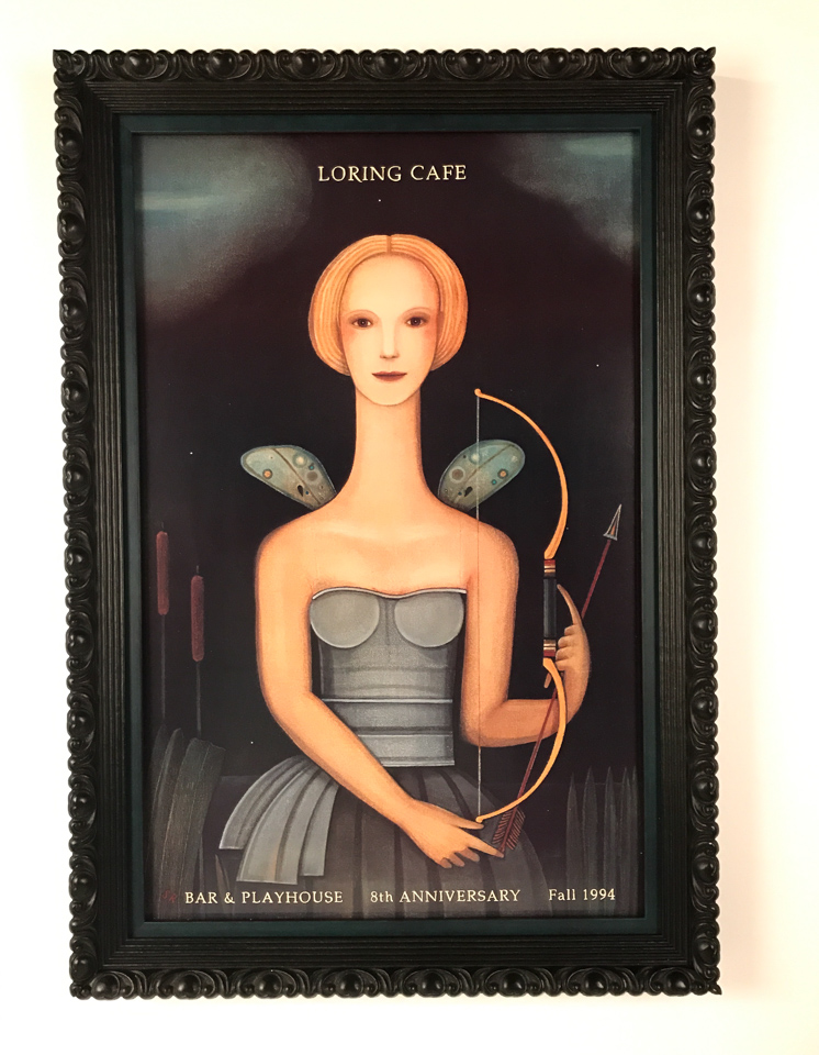 An old favorite - Loring Cafe - poster by Steven Rydberg framed in ornate black with oxidized peacock insert.