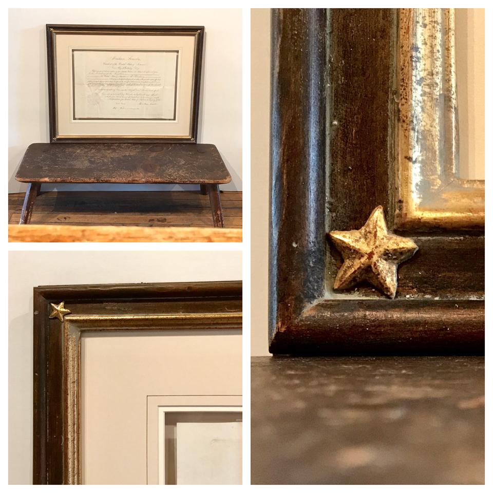 Authentic Hand-written letter by Abraham Lincoln framed in antiqued wood and 22kt gold with star corner embellishments. This piece was also framed with glass backing to see the opposite side.