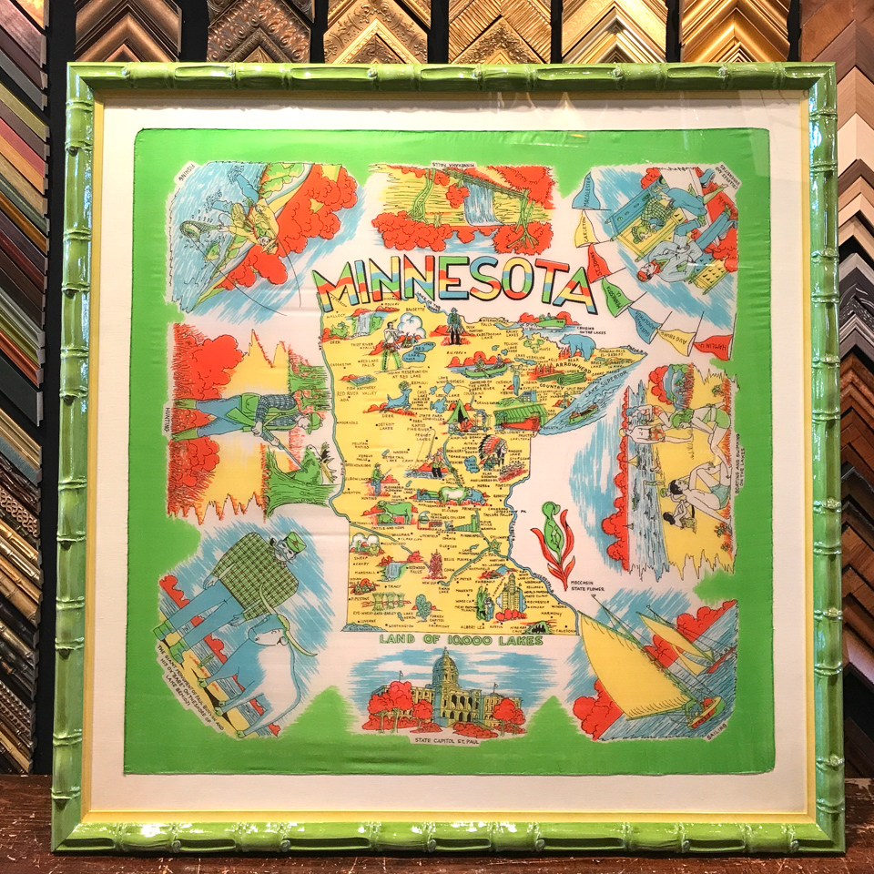 Vintage Minnesota silk scarf floated on silk and framed in chartreuse gloss bamboo with butter yellow insert.