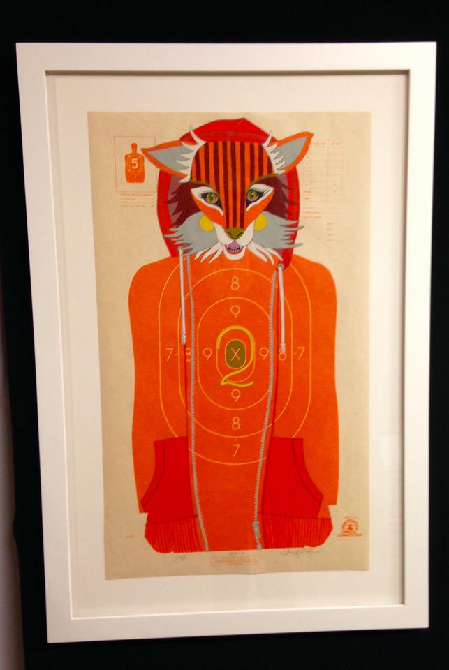 Painting by Jen Davis framed in warm white closed-corner frame.