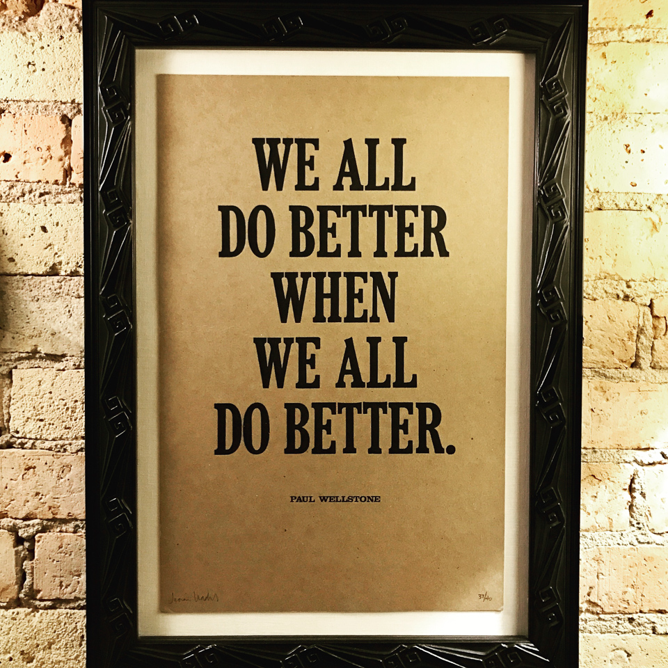 Words to live by. Paul Wellstone quote by Lunalux floated on oyster linen and framed in an Art Deco patterned black frame.