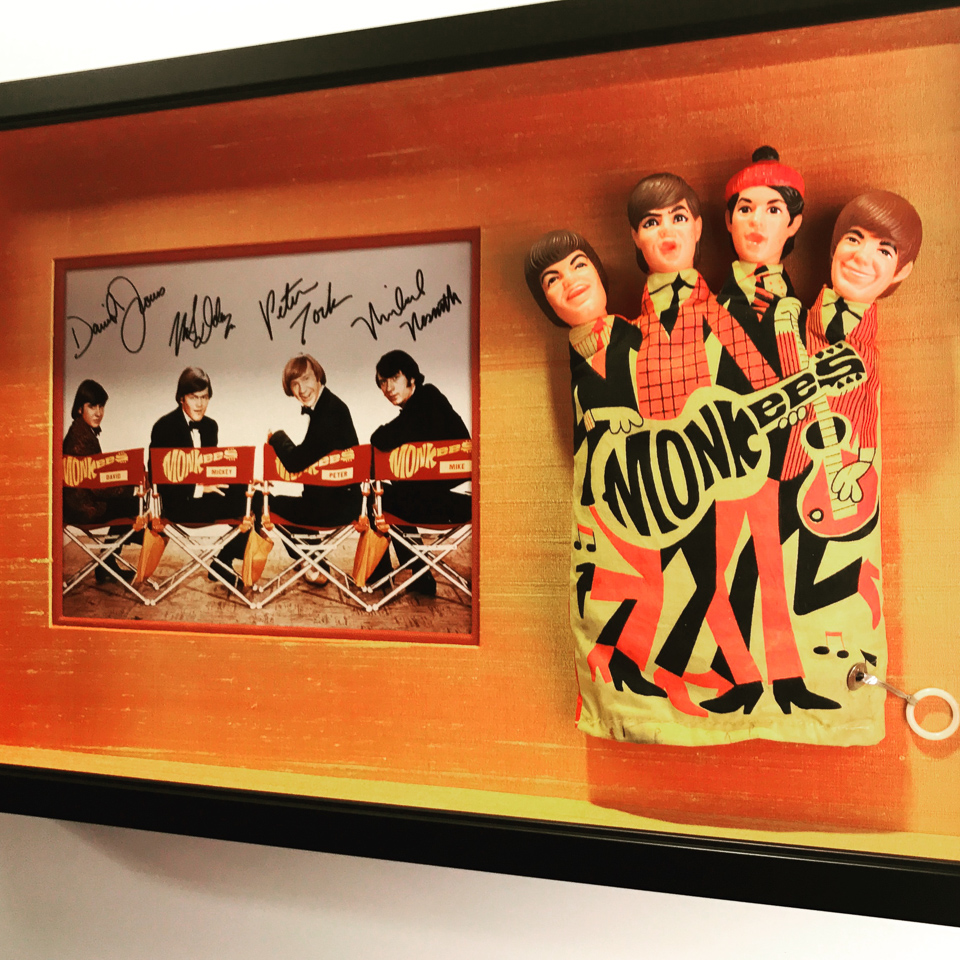 Monkees collection shadowboxed.