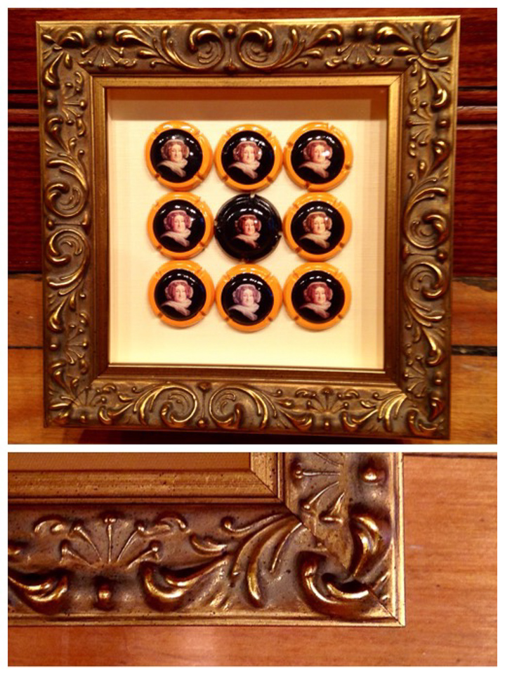 Champagne keepsake from fun times in France - framed in small ornate shadowbox.