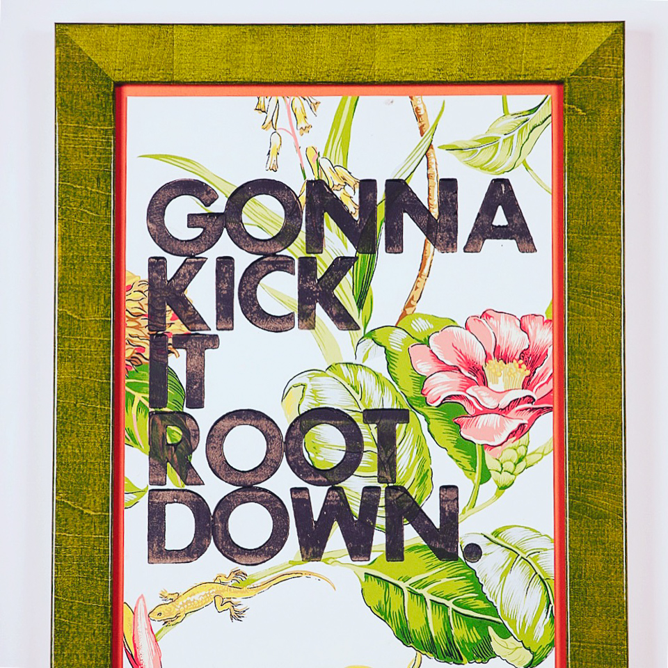 Print on vintage wallpaper by Amy Rice framed in glossy chartreuse. For sale in our showroom.