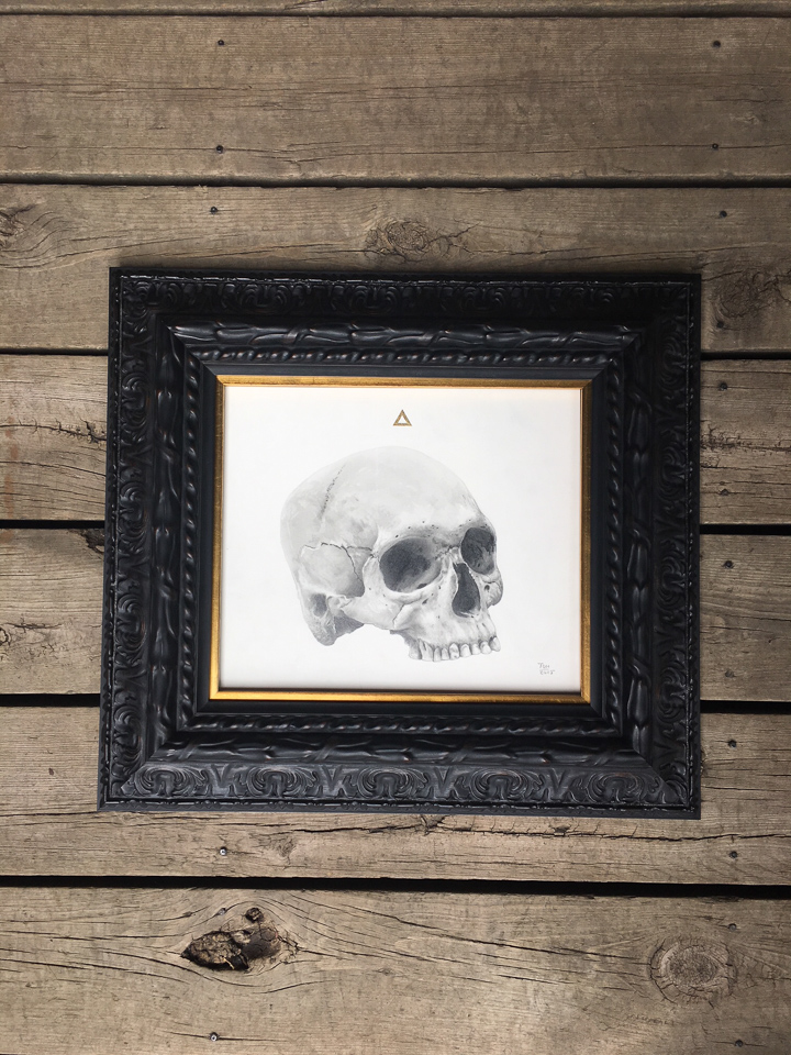 Drawing framed in dark ornate frame with gold fillet.