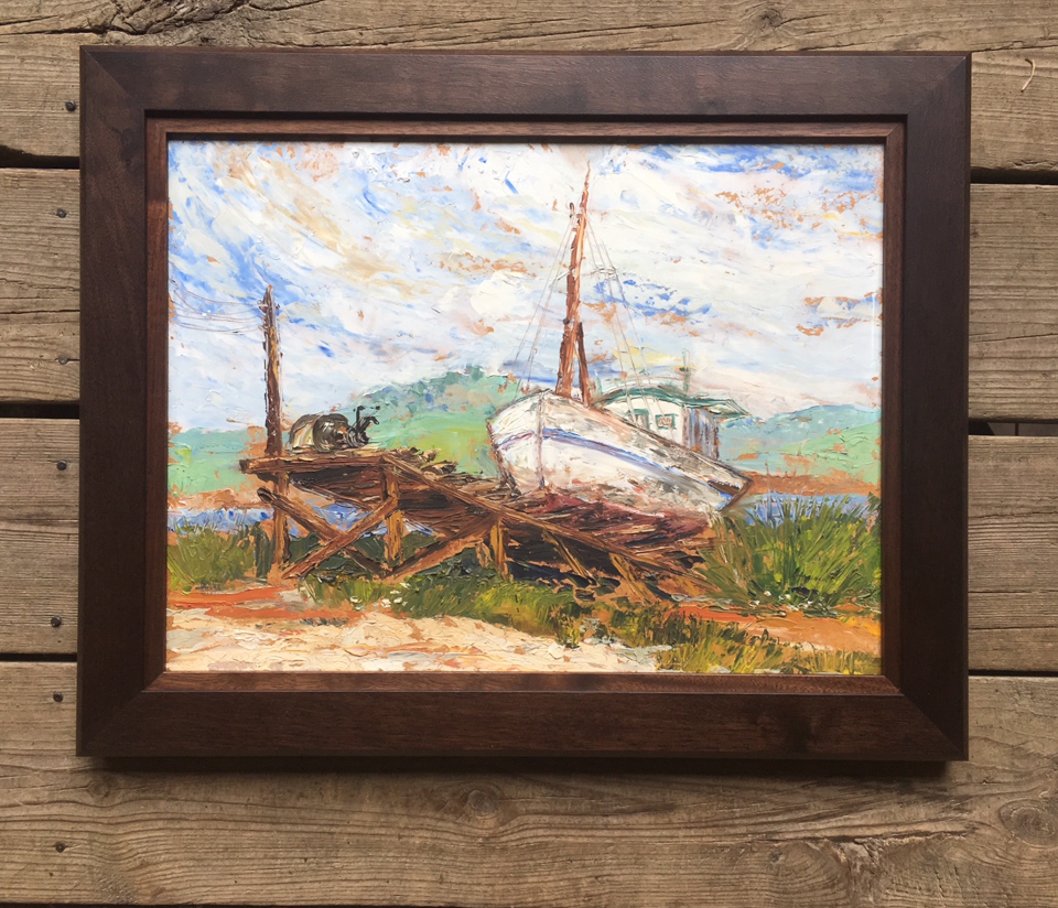 Vintage boat painting given a fresh walnut frame with walnut insert.