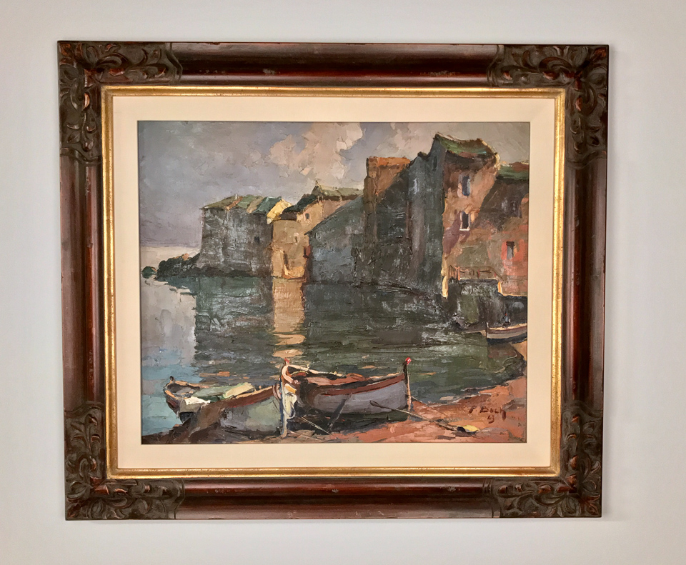 Inherited painting reframed in Italianate carved wood with 22kt gold lip and silk liner.