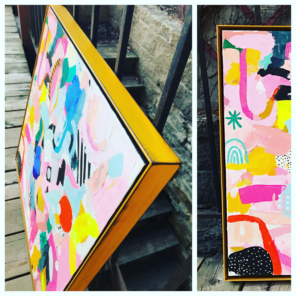 Painting by Minneapolis artist, Ashley Mary. Framed in a school bus yellow steel float frame.