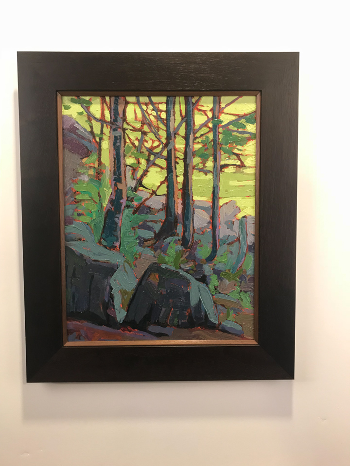 Painting by Brendon Farley framed in ebony walnut with cherry insert.