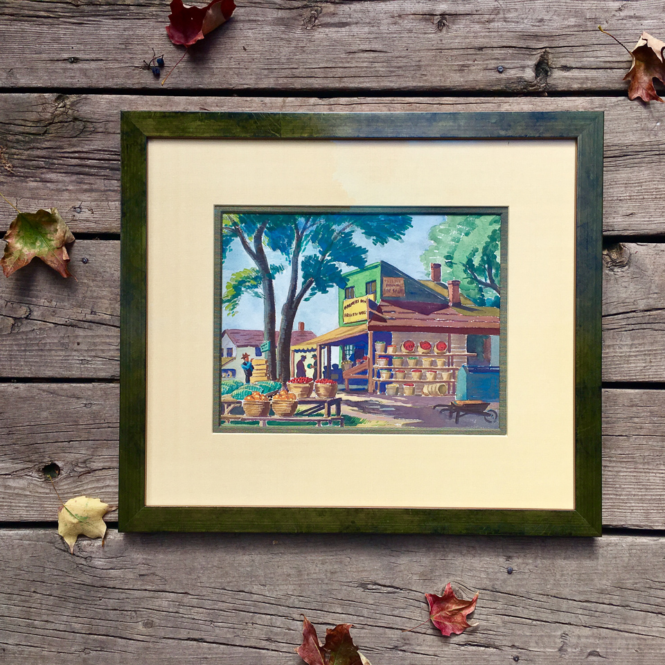 Vintage watercolor of farm stand framed in oxidized green frame with linen matting.
