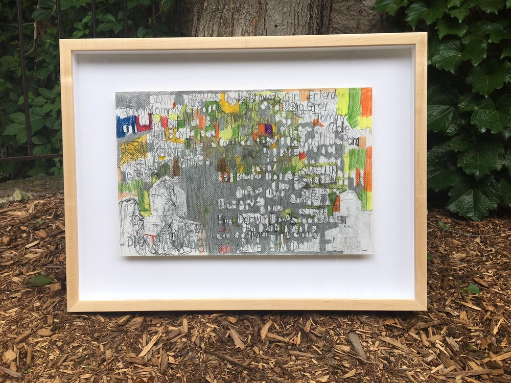 Abstract drawing lifted and floated in maple frame.