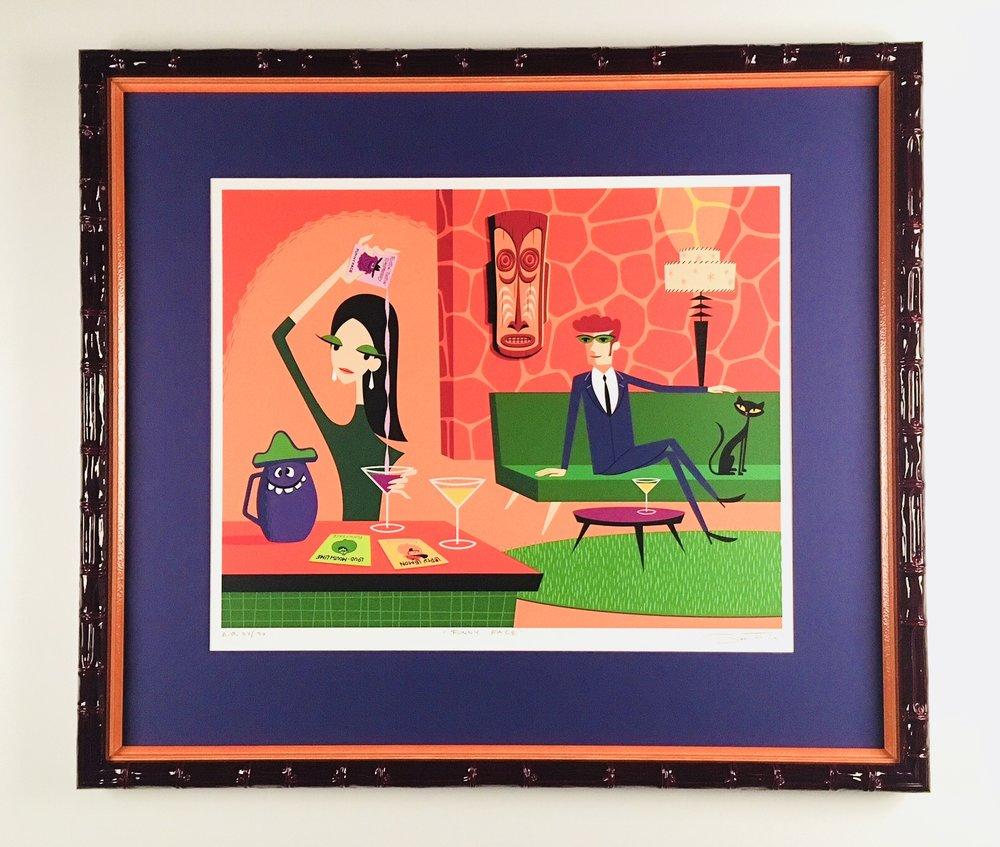 Shag print framed in gloss merlot bamboo frame stacked with orange.
