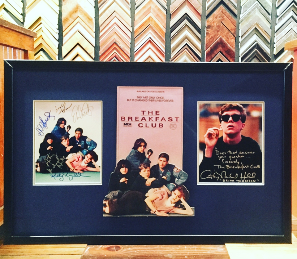 Autographed Breakfast Club movie collection framed in welded steel.