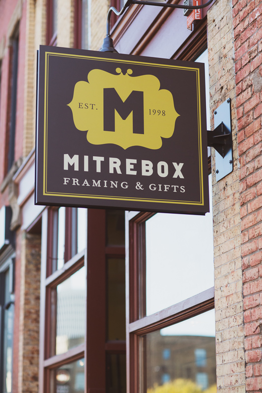 Mitrebox Framing studio. The North Loop frame shop in the heart of Minneapolis.