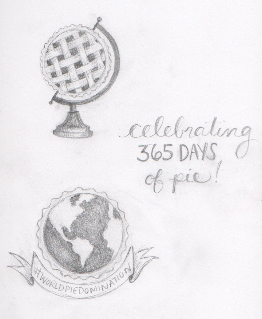 Pencil sketches - Peggy Jean's Pies #WPD logo
