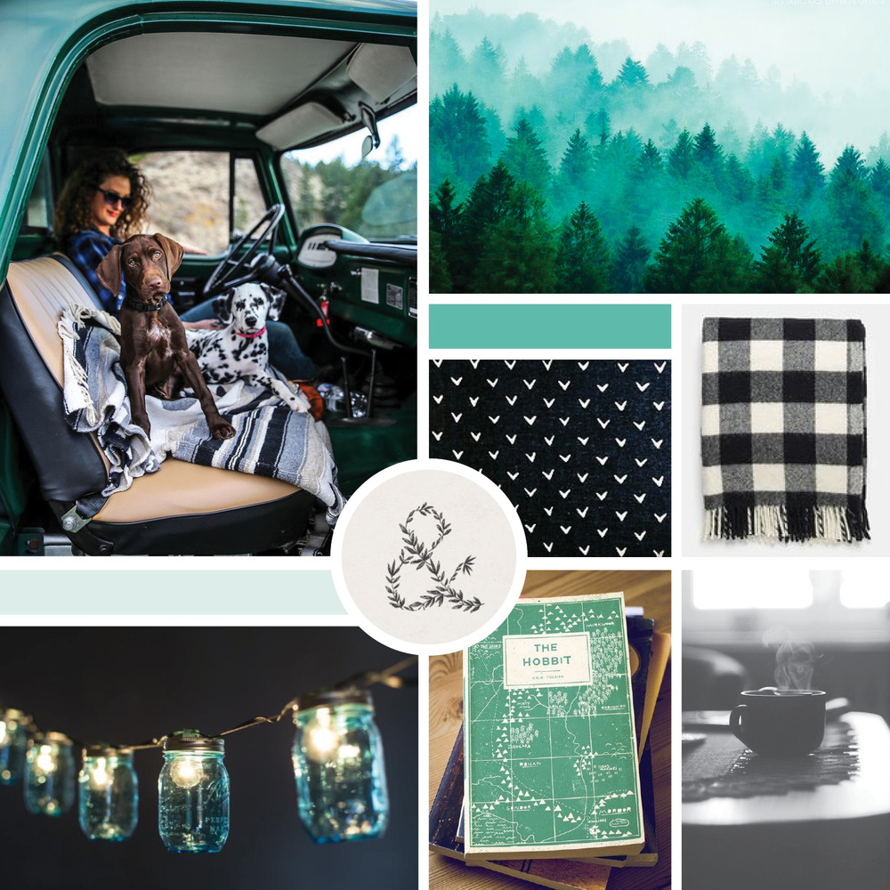 Inspiration board for Gillian Tracey Design brand identity