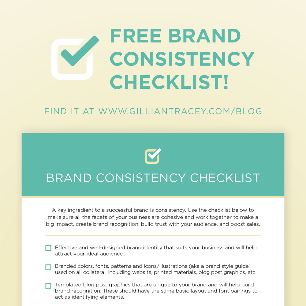 Brand Consistency Checklist from Gillian Tracey Design
