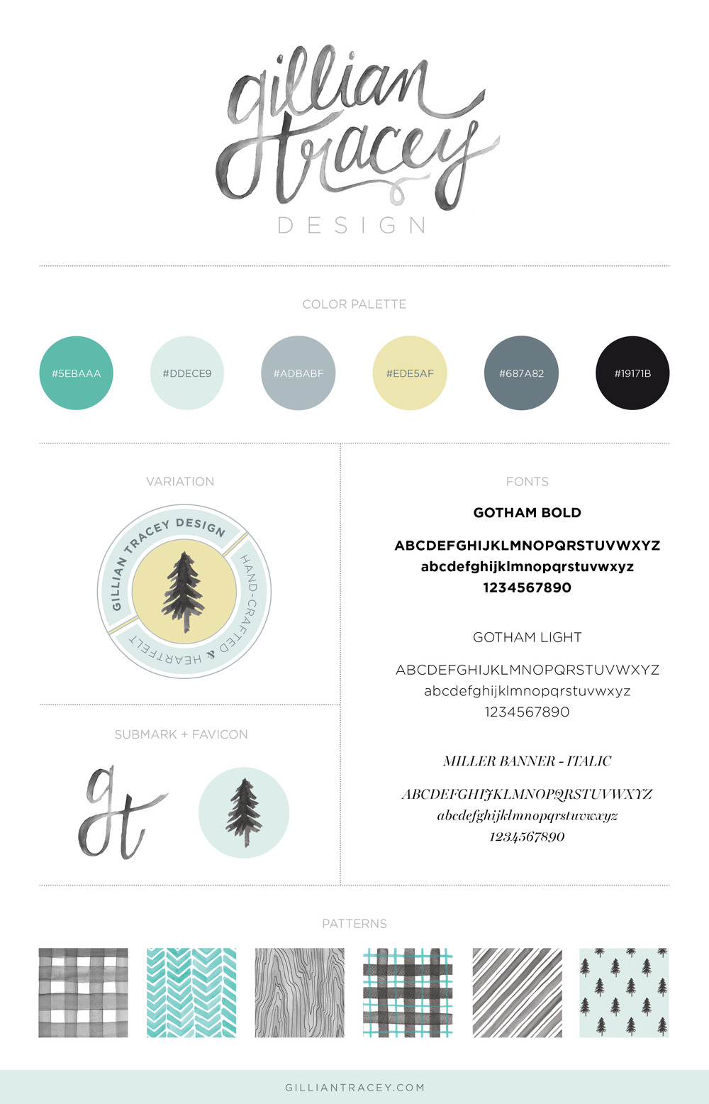 Gillian Tracey Design Branding Board