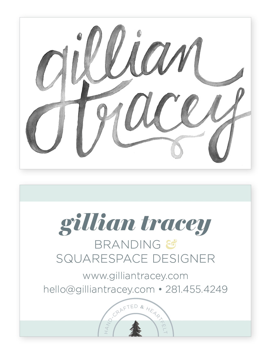 Business card design, front and back.