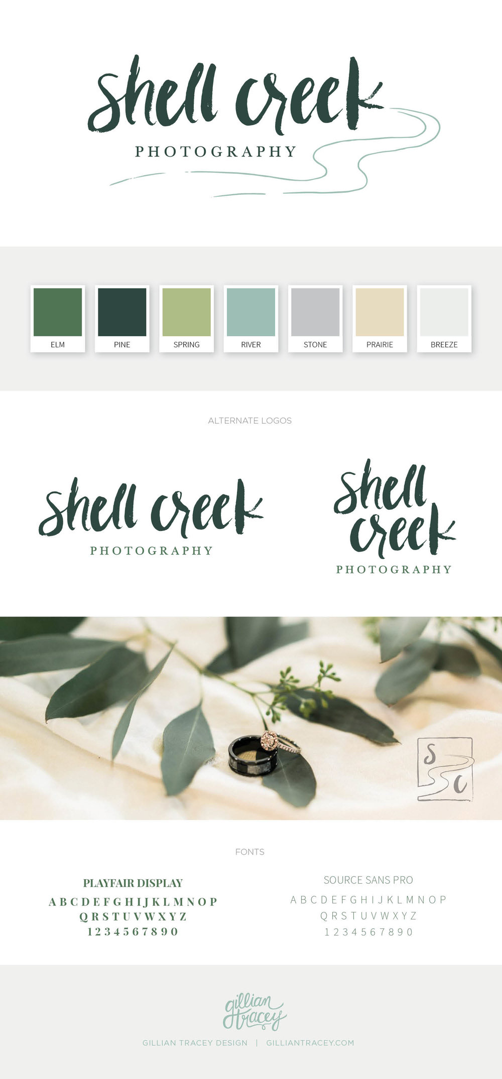 Shell Creek Photography Branding Board - Gillian Tracey Design