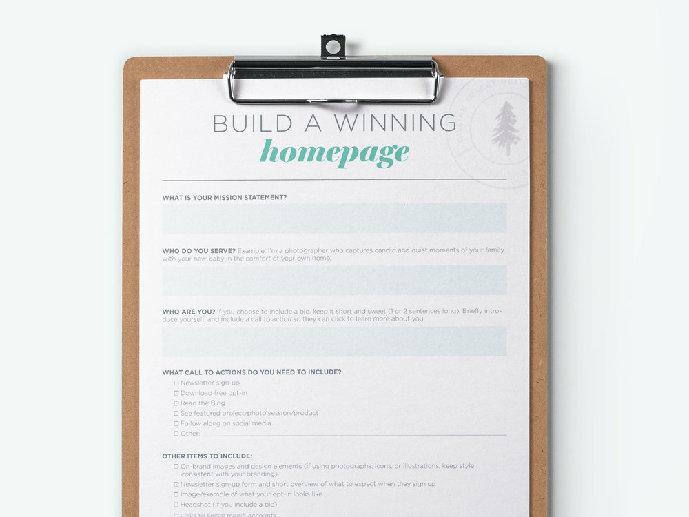Free Worksheet to help design your homepage from Gillian Tracey Design