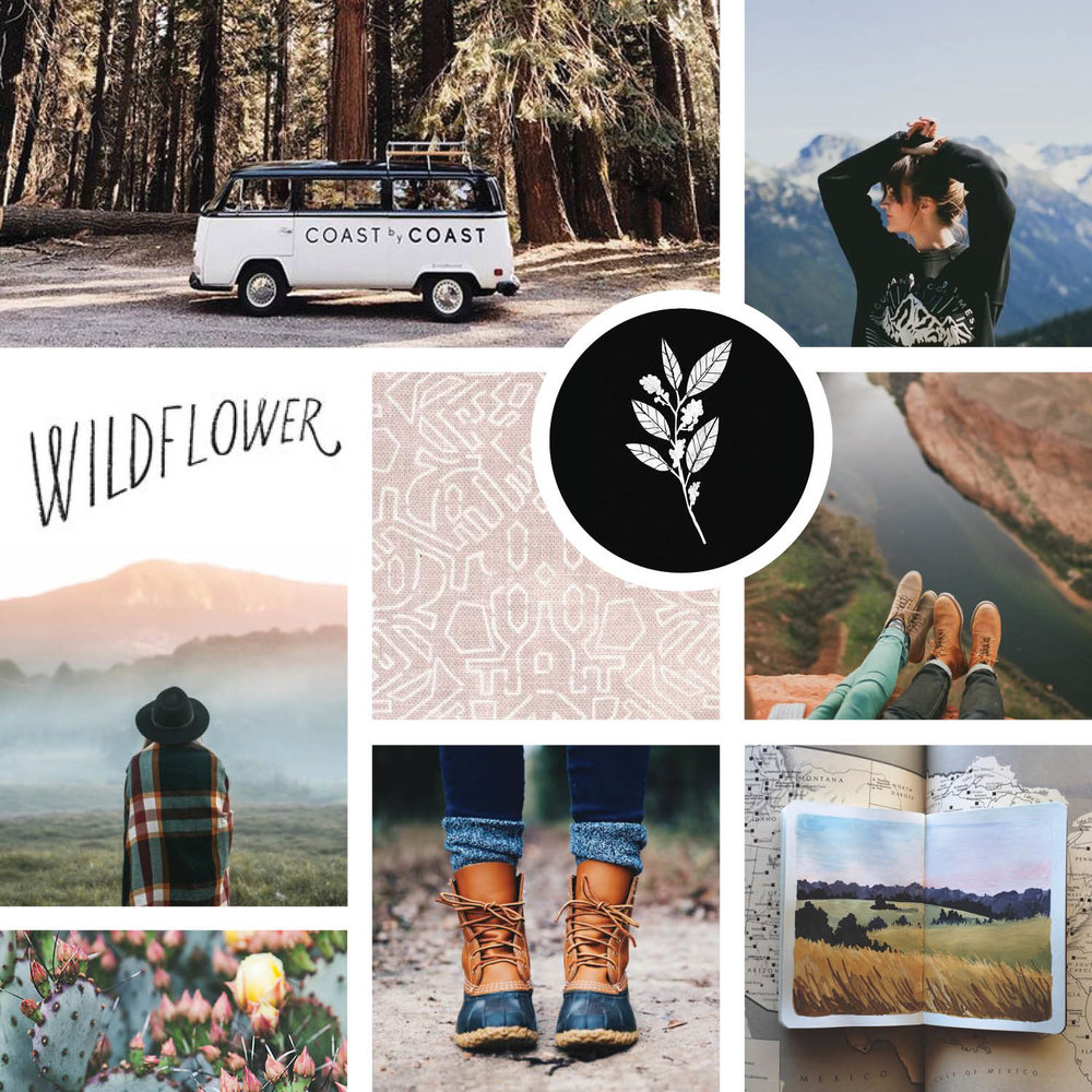 Fab Station Mood Board - mountain and adventure-inspired branding by Gillian Tracey Design