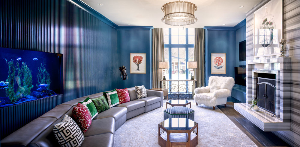 While not as esoteric as Elvis' Jungle Room, the family's blue room boasts an eclectic style reminiscent of the King's favorite getaway space.