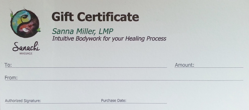 View of physical gift certificate.