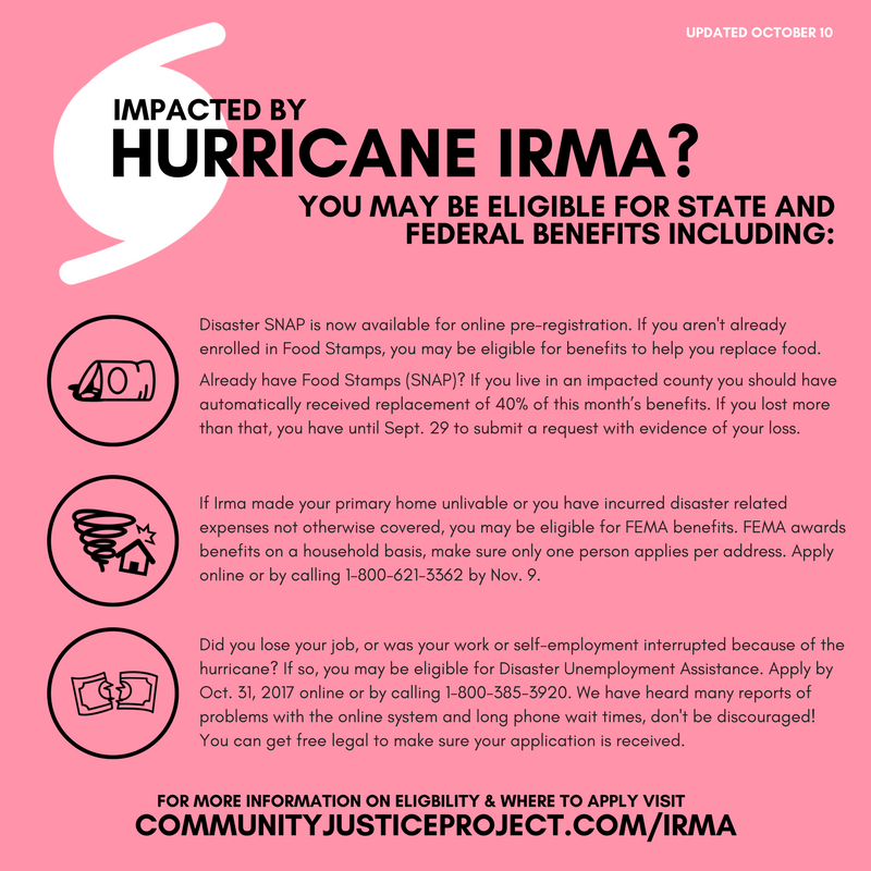 Hurricane Irma Resource Page Community Justice Project