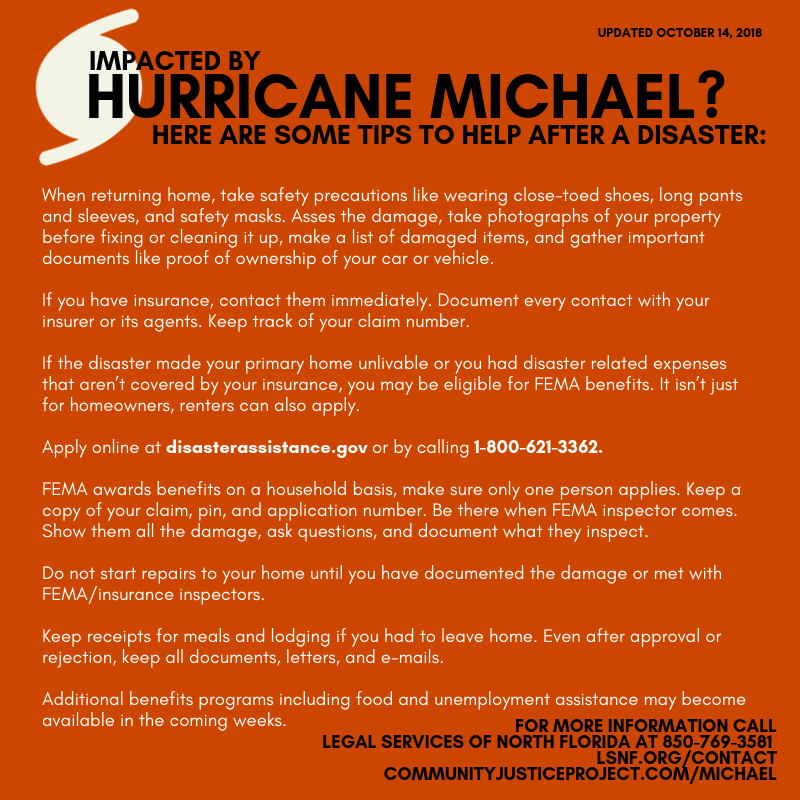 Hurricane Michael Resource Page Community Justice Project