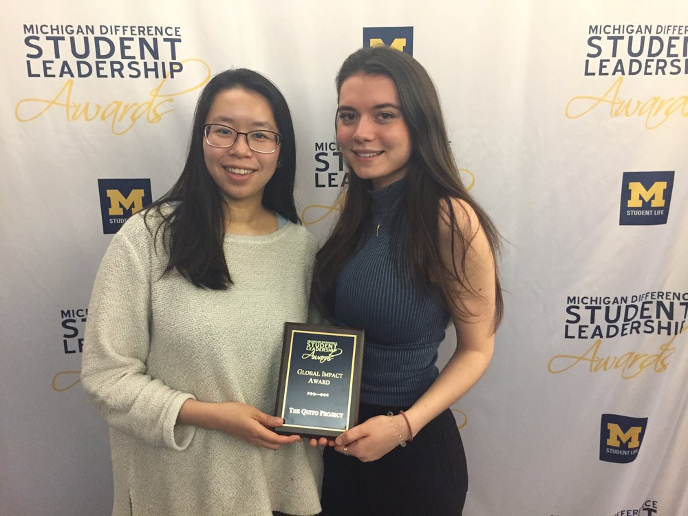 Presidents Nora Kuo and Marina Ross accepting the award on March 27th, 2018