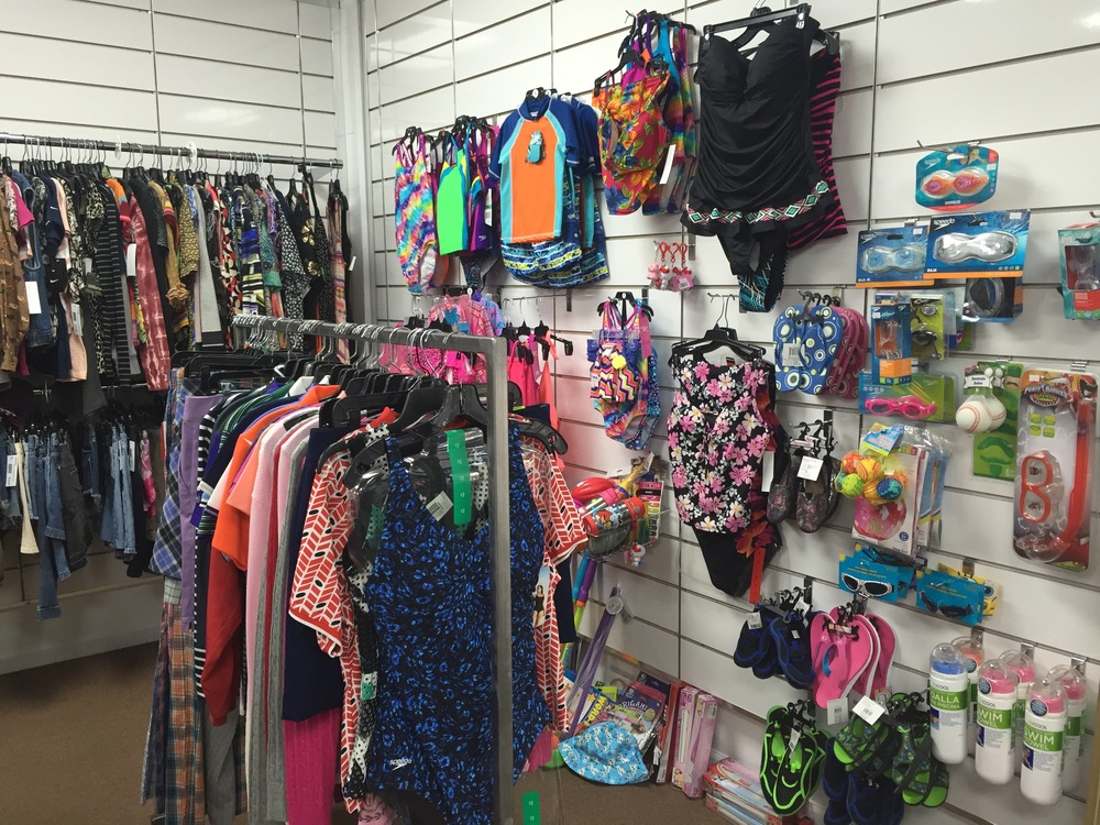 Adult and Youth Swim Suits, Swim Trunks, Goggles, Water Toys.    Cold drinks and great snacks.  Always great big savings at the Sport Zone.