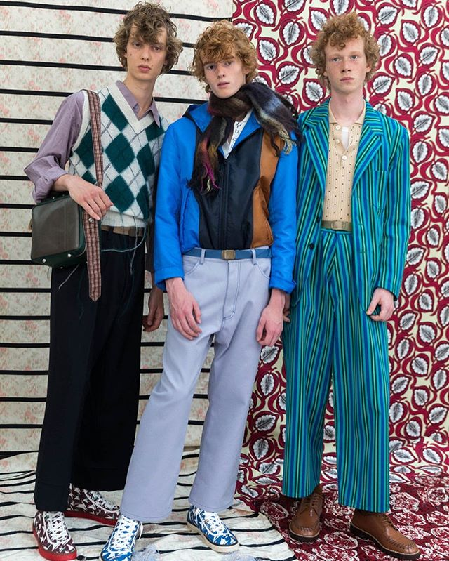 Pulp Agency @melodiejeng • 🦚 @marni Mens Spring Summer 18 #bts #prints #argyle #stripes