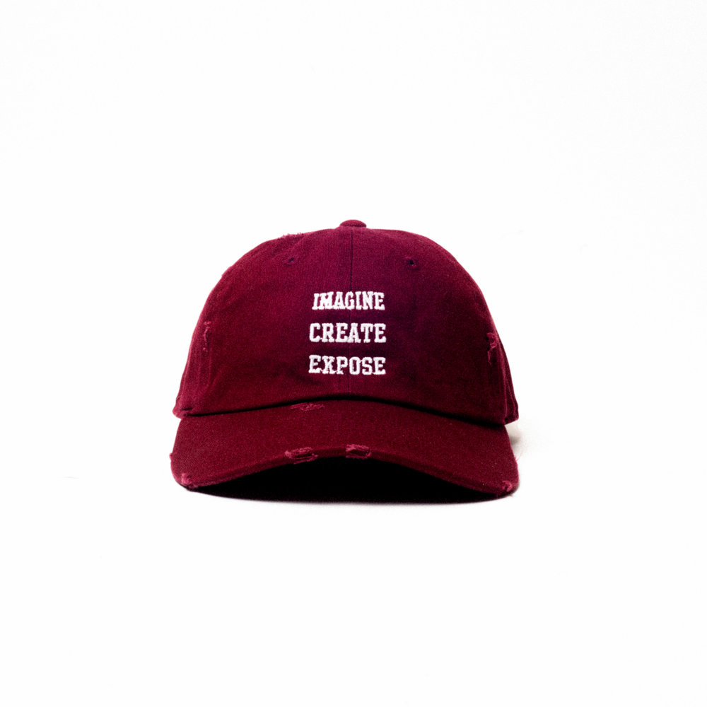 23a09935b537d IMAGINE. CREATE. EXPOSE. Distressed Maroon Dad Hat — MILHOUSE