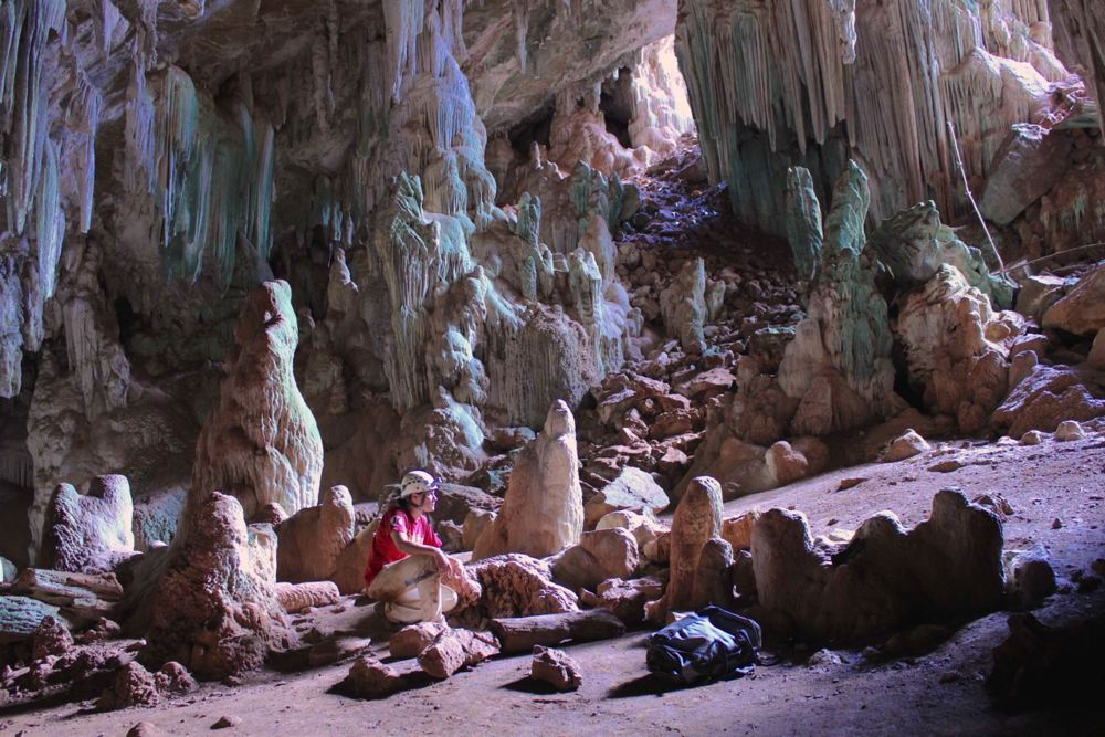 Corinne at enterance of tamboril cave, brazil