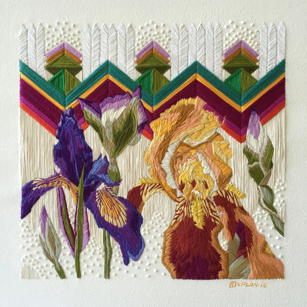 "Finished ""Irises by a White Picket Fence"""