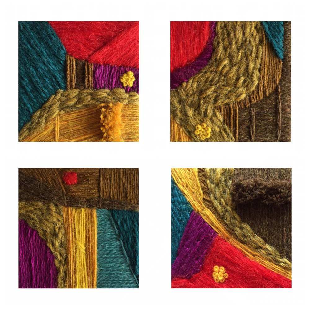 "Digital collage of the four miniatures that came together to create ""The Slow Study of Mosses,"" each 4 inches squared."