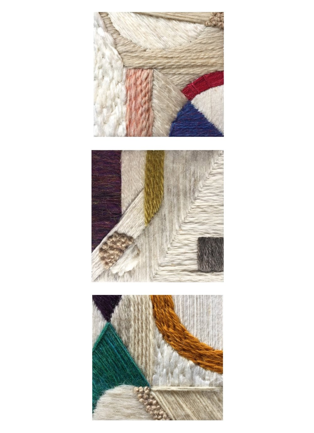 "A digital collage of the three 4"" squared miniatures that compose ""Kites."""