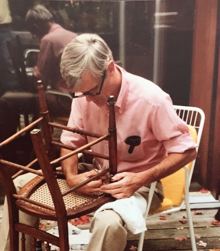 My grandpa, William Vorhees Skidmore, caning a chair quite a while ago.
